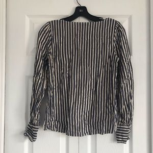Express Striped Navy and Gold Blouse Size XS